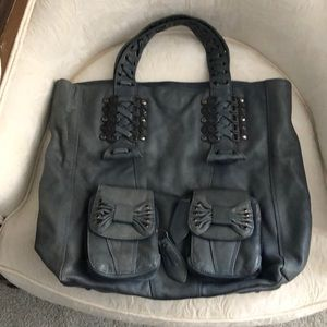 Betsy Johnson Leather Slate Blue Tote